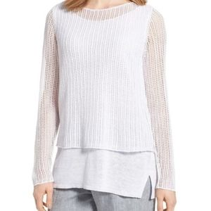 Eileen Fisher linen white double layered sweater